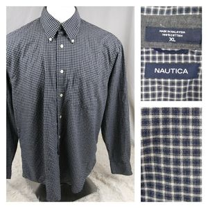 Nautica Men button plaid long sleeve shirt Causal